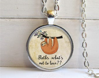 Sloth Necklace, Sloth Lovers Gift