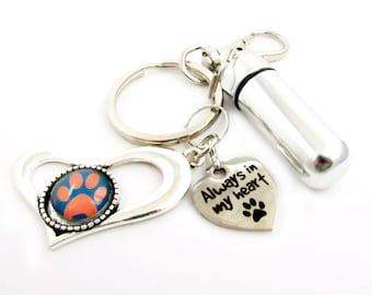 Pet Ashes Keychain, Urn Keychain, Ashes Carrier, Pet Loss Keychain, Paw Keychain, Pet Loss Gift, Heart Keychain, Car Accessories, PK01