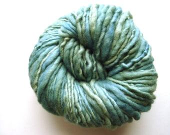Seafoam--Handspun, Hand Dyed Polwarth Yarn, Single ply, 4.3 oz, 113 yds
