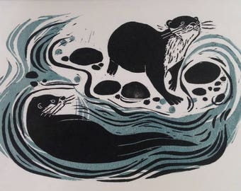 Original print ' Cats of the River'. Otters