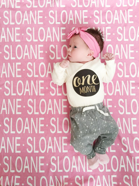 Personalized baby blanket and hat set organic knit swaddle personalized baby blanket and hat set organic knit swaddle petunias name baby blanket shower gift birth announcement photo prop newborn negle Gallery