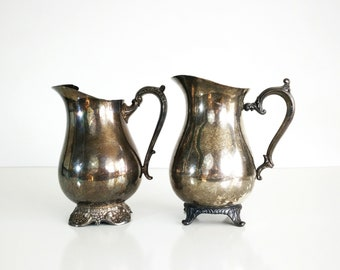 Vintage Silver Pitchers / Victorian style silver plated pitchers / Vases / Water pitchers