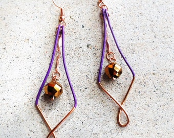 Purple Copper Earrings Wire-wrapped Handmade Sinewy Dangle Beaded Color Block Earrings By Distinctly Daisy