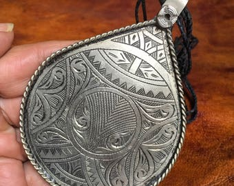 Berber Large Amulet Pendant with Filigree from Morocco