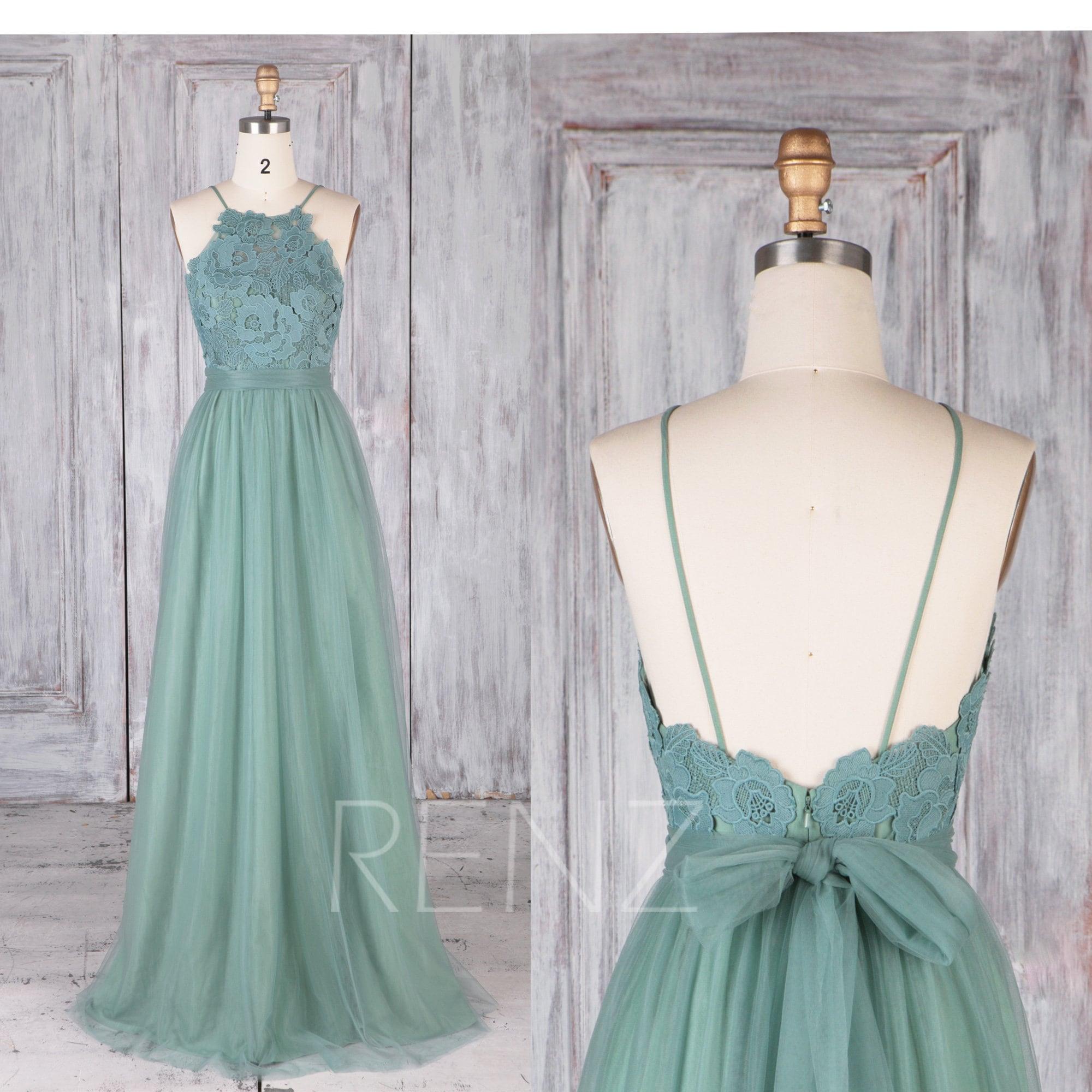 Bridesmaid Dress Dusty Green Tulle DressWedding DressLace