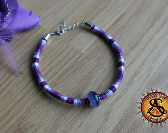 Purple bracelet or anklet, hand woven, cotton threads, choose your length, Purple cat's eye Murano glass bead, adjustable lobster clasp