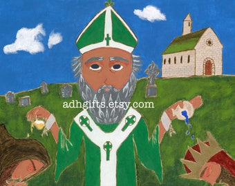 8 X 10 Saint Patrick Icon Print on wood