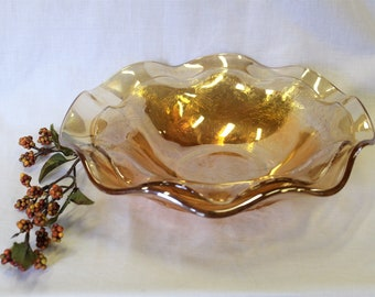"""2 For 1 Vintage Mid Century Jeannette Glass Iridescent Floragold Ruffled Edge Bowls 9 1/2"""" Louisa & 11 1/2"""" Iris, Both Excellent Condition!"""