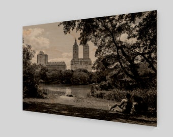 Relaxed by the Lake in Central Park Wood Print, 1:50 Limited Edition / home decor / decoration / photo / photography / black and white
