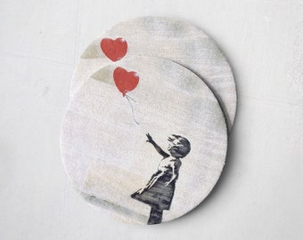 Banksy Drink Coasters – Absorbent Coaster Set of 10 – Coasters for Women & Men – Heavyweight Reusable Thick Pulpboard