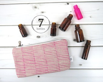 Essential Oil Case - BERRY - canvas cosmetic bag zipper pouch essential oil bag