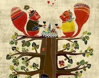 SQUIRREL PICNIC art print - cute woodland illustration // brown wall decor