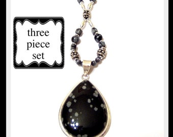 Snowflake black Obsidian Sterling Silver statement Necklace Bracelet and Earrings Set Signature Design
