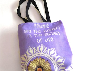 tote bag, friend quote, friend gift idea, book bag, small shopping tote