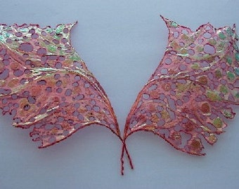 OOAK Fairy Wings-Iridescent-Raspberry Sparkle - Doll Sized  (Made by Request)