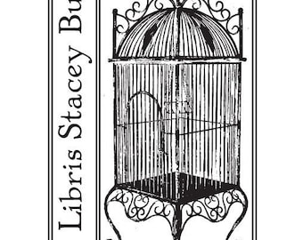 Custom Antique Bird Cage Ex Libris Bookplate Rubber Stamp C22