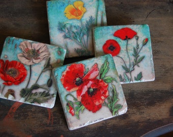 Garden Party stone coaster set