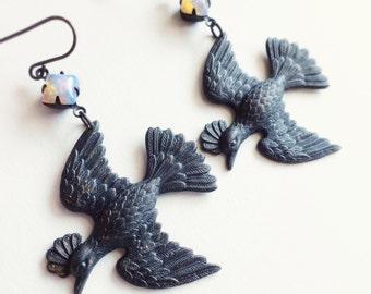 Large Bird Earrings Antiqued Brass Vintage Glass Opal Jewels Victorian Flying Birds