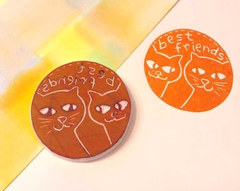 Cool Cats Rubber Stamp, Two Cat Best Friends, Share With Friends, Cat Lovers,Teacher Stamp,Birthday Party Cat Stamp,Hand Carved Rubber Stamp