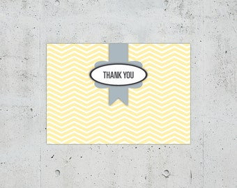 Shabby Chic Chevron Wedding Thank You Card | Printable DIY | Color Customizable
