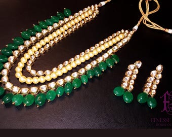 Kundan Polki Haar,Gold Green Kundan, Haar Necklace,Long Rani Haar Necklace,Kundan Jewelry,Indian Jewelry,Polki Bridal Necklace,Polki Mala