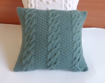 Custom Cable Knit Pillow Cover Blue Spruce, Throw Pillow, Decorative Pillow Juniper, Hand Knit Pillow Case, Knit Cushion Cover, Couch Pillow