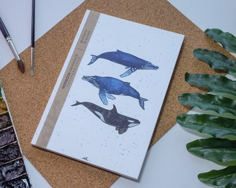 Baleine aquarelle carnet de notes à la main, dur journal de couverture, Illustration, carnet, carnet de croquis, journal intime, cadeau, 21 × 14.8