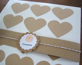 """Large Heart Stickers, Kraft Heart Sticker,  Heart Label, 2.275"""" x 1.8"""" - Set of 30"""