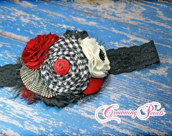 Red Black, Ivory Headband, Hair Bow, White, Crimson Hair Accessory, Fabric Flower, Baby Hair Bow, Cream, flower hair clip, flower hair piece