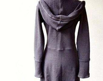 Hooded organic dress - organic cotton knit