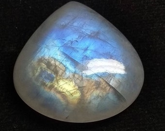 Rainbow Moonstone Heart Designer Cabochon,28x27x7 MM, Multi Flash Moonstone ,AAA, Loose Gemstone, Smooth Cabochon.