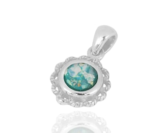 Beautiful silver pendant with Roman Glass the most amazing jewel to think of when you plan your wedding