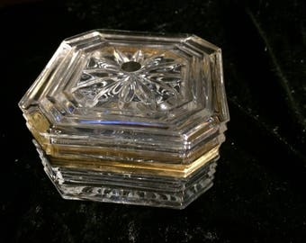 Bleikristall 24% Lead Crystal Hinged Covered Box Gold Trim, Anna Hutte, Germany