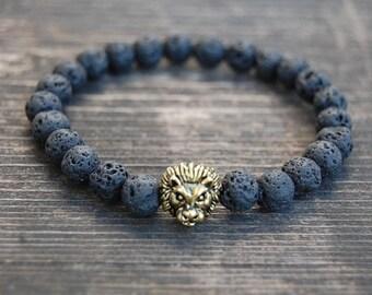 Lion Bracelet,Lava Stone Bracelet,Mens Lion Bracelet,Volcano Stone Beads,Gift for Him,Bracelet for Men,Leo Lion Bracelet,Man,Lava Bracelet