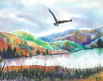 Nature Art River Landscape painting Original artwork Inspirational gift for him Watercolor River painting Landscape watercolor artwork