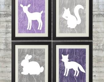 Woodland Nursery Art , Forest Nursery Art, Forest Animals, Little Critters - set of 4 -  8x10 Prints