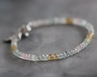 Shaded Aquamarine Bracelet // Modern // Minimalist // Tennis Style Bracelet