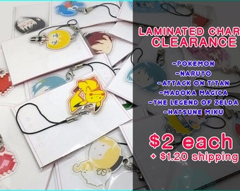 Laminated Charm Keychain Various Anime Video Game You Choose Clearance