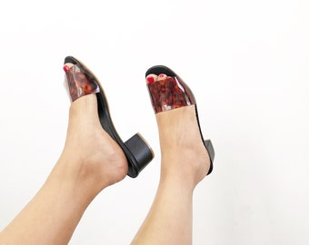 Sukey Lucite Slide Mules (Handmade to order)