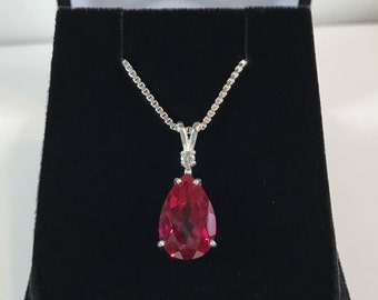 Beautiful 4.5ct Ruby & White Sapphire Sterling Silver Pendant Necklace Pear Cut Ruby Necklace teardrop July Gift Mom Fiancé ladies jewelry