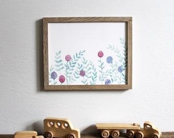 clover flowers wall art print - floral botanical nursery decor watercolor 8x10 painting home decor modern art