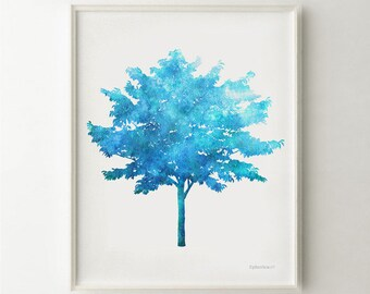 Blue tree Digital print, Bright Blue printable art Colorful nature art, 11x14 art print, Blue digital art Print of a tree, Blue gift ideas