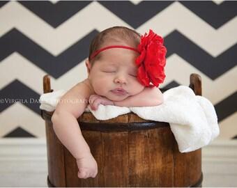 Newborn Headband, Toddler Headband, Red Headband, Flower Headband, Infant Headband, Baby Shower Gift, Hospital Gift