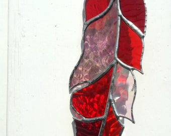 """Stained Glass Feather Suncatcher,Mixed Red,7"""" Long,Glass Art,Native American,Glass Feather,Ceremonial,Spirit,Tribal,OOAK, Birthday Gift"""
