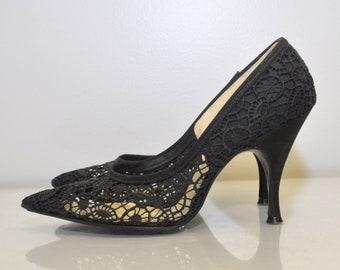 Vintage 1950s Heels / 50s Womens Shoes / Vintage Stiletto Heels / Vintage Pumps / Lace Web STUNNING High Heels / Davito Originals / Size 5