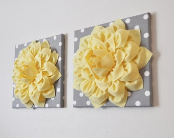 "TWO Wall Flowers -Light Yellow Dahlia on Gray and White Polka Dot 12 x12"" Canvas Wall Art- 3D Felt Flower"