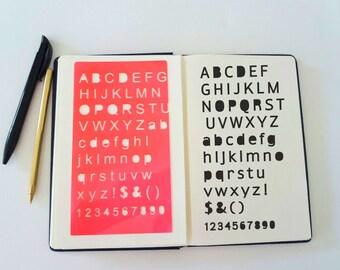"Bullet Journal Stencil, Sans Serif Alphabet Stencil, Planner StencilSans Serif Letter Stencil - 4x7"""