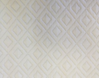 White Maltese Double Diamond Fabric - Upholstery Fabric By the Yard
