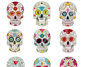 Colorful Halloween Sugar Skulls Digital Clip Art Scrapbook Embellishment Day of the Dead Png Clipart Instant Download Commercial Use