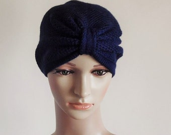 Navy blue turban hat, knitted turban, winter turban, handmade turban for women, women's knitted hat, knitted from acrylic yarn